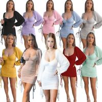 Women's Sexy Slim Mini Dress Lady Bodycon Nightclub Pleated Ball Gown Dresses