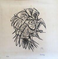 Lithography by Antonio Lloró Martínez ¨El gallo canta¨, 1972. Cuban Art. Signed