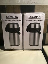 2 x Olympia k635 Pump action Airpot 2.5ltr Stainless Steel