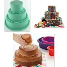 "3"" 6"" 8"" 3 Layers Round Cake Pan Set Silicone Baking Mold for Wedding Party YA9"
