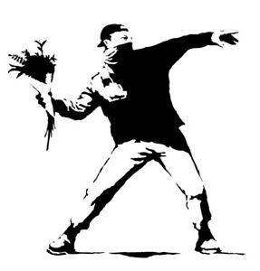 Banksy Flower Thrower Vinyl Mural Wall Art Sticker Self Adhesive Choice of Size