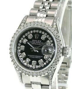 Rolex Womens Datejust Watch  Steel 26mm Black Diamond Dial Diamond Bezel Watch