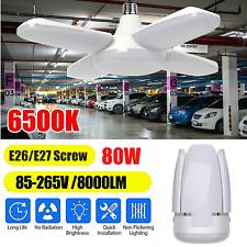 2PACK 8000LM LED Garage Light Deformable Ceiling Workshop Lamp Fixture Light 80W