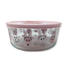 Pyrex Easter 7-Cup Storage Bowl & Cover Pink Cat Pig Dog Bunny Ears