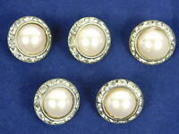 Vintage 1980s Lot of 5 Vintage Pearl and Rhinestone Buttons 3/4 Inch Wide