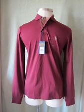 """Mens Ralph Lauren Wine Polo Shirt NWT $98 S 34.5"""" SL Suede Placket """"Soft Touch"""""""