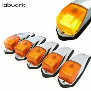 5x Amber Chrome LED Cab Marker Lights for Peterbilt Kenworth Freightliner