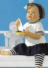 Baby/toddler nautical striped dress & leggings knitting pattern 6-24mths 3ply169