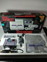 Super Nintendo Complete Original Box SNES Console Controller CIB 3 games tested