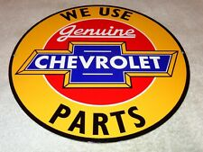 """Vintage """"We Use Genuine Chevrolet Parts"""" 12"""" Metal Car Truck Gasoline & Oil Sign"""