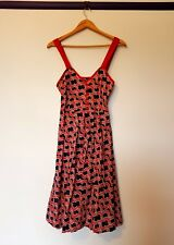 Rusty Womens Size 10 Red Blue Rockabilly Style A-line cloud print  Dress