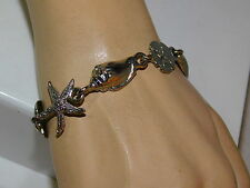 "Nautical Sea life Shell Starfish Clam Sand Dollar Silver tone 8"" Bracelet 4e 98"
