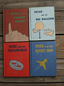 Lot 4 Books ~ 1950's Peter Rocket Ship, 2 Hour Moon, Big Balloon, Unlucky Rocket