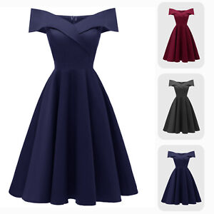 Vintage Off-shoulder Knee Length A-line Fit N Flare Formal Cocktail Satin Dress