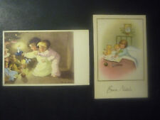 2 POSTCARD MERRY CHRISTMAS-GIFTS CHILDREN-intonse