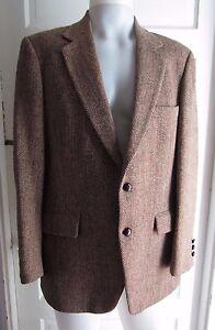 HARRIS Tweed Blazer BROWN Wool Herringbone Sport coat Jacket Mens 42 Vintage