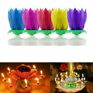 Musical Rotating Flower Lamp Birthday Party Blossom Lotus Light Candle