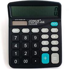 Dual Power 12 Digit Big Display Calculator JOINUS JS-837 Solar/Battery Desk/Till