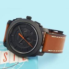 NWT In Box Fossil Machine Chronograph Black Brown Leather 45mm Watch FS5234