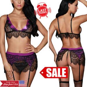 Purple Sheer Black Lace Nighty Lingerie Bra Top Garter Skirt Lingerie Set S-L US