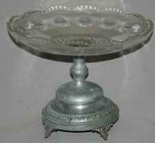 ANTIQUE EUROPEAN ART DECO GLASS PLATTER TRAY BOWL WITH METAL FOOTED BASE