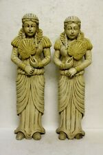 """RARE 32"""" TWO HAND CARVED GOTHIC FANCY FRENCH STYLE CHURCH WOOD SCULPTURES"""