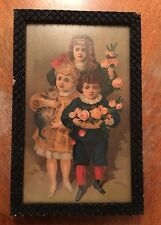 Antique Victorian Framed Print Children And Roses
