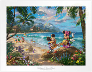 Thomas Kinkade Studios Mickey and Minnie in Hawaii 12 x 16 S/N LE Paper