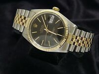Rolex Datejust Mens Two-Tone 14K Gold Stainless Steel Black w/ Jubilee Band 1601