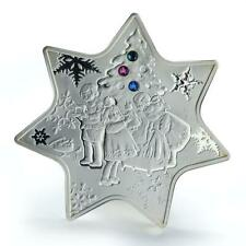 Niue 1 dollar Christmas Star Shaped silver coin with zircons 2010