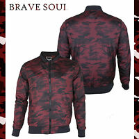 Mens Brave Soul Regal Red Camo Lightweight Military MA1 Bomber Jacket Coat