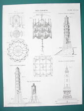 LIGHTHOUSE Sea Lights Eddystone Bell Rock Revolving - c. 1835 Fine Quality Print