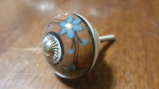 Hand-made Hand-painted Ceramic Drawer Knob - Brown with blue flowers - S40