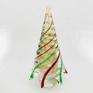 """Vintage Murano Glass Clear Christmas Tree Red Green Stripe Gold Aventurine 8.25"""""""