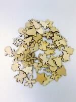 50pcs Christmas Wooden Tree Ornaments Mini Snowflake Hanging Pendants Decor UK