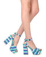 New Women Dolce Vita Gavvin Striped Leather Peep Toe Platform Block Heel Sandal
