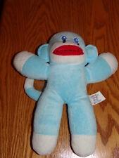 """10"""" Babys First Soft Blue & White Sock Monkey Plush Animal Euc Sanitized"""