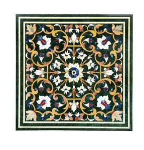 "24"" Green Marble Table Top pietradura Handicraft Work Home Decor"