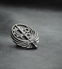 The Brotherhood of Steel pin inspired by Fallout game made from white bronze