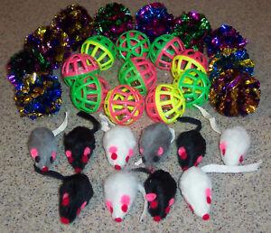 30 lot FUR Mice JINGLE MYLAR toys kitten toy furry ball free shipping crinkle