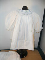 """24"""" OLD STORE STOCK WHITE COTTON BLEND SMOCK DOLL DRESS W/PANTIES SIZE22-24""""?"""