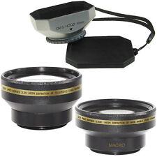 30mm Wide Angle + Telephoto Lens Kit + Hood for Sony DCR-SR45 SR42 camcorder,USA