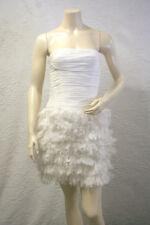$798 BCBG OFF WHITE (SAN6H208) RUFFLE STRAPLESS CHIFFON DRESS NWT 8