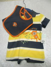 NWT Okie Dokie Navy, Yellow & White Stripe Monkey Short Romper with Bib, 0-3 mos
