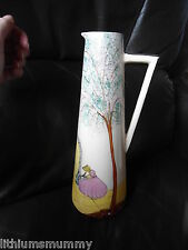 HAND PAINTED GENUINE ART DECO TALL, CONICAL PINK LADY JUG ROYAL MADE ( AG3)
