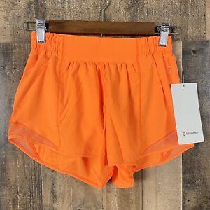 """NWT Lululemon Orange Hotty Hot LR 4"""" *Lined Active Wear Shorts"""