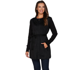 H by Halston Faux Suede Jacket with Sweater Knit Sleeves Black Color Size 14