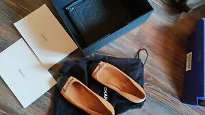 CHANEL Tan Leather Ballet Flat Black Cap Toe Women's Shoes Size 39