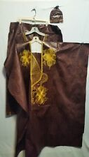 African Men Clothes Brocade Grand Bou Bou Pant suit Brown Handmade Free size