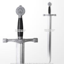 "39.5"" Medieval Foam Excalibur Sword with Metallic Chrome Finish on Blade LARP"
